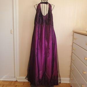 Nightway | Purple Beaded Halter Formal Dress